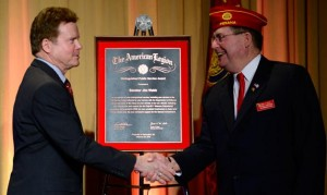 Jim Webb, a highly decorated Vietnam War veteran and former Senator of Virginia, received the American Legion Distinguished Public Service Award at Washington Conference. (Photo by Eldon Lindsay)